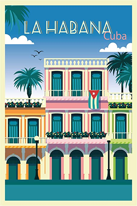 Amazon Com Ezposterprints Retro World Famous City Posters Decorative Vintage Retro Grunge Travel Poster Printing Wall Art Print For Home Office La Habana 2 Cuba 16x24 Inches Posters Prints