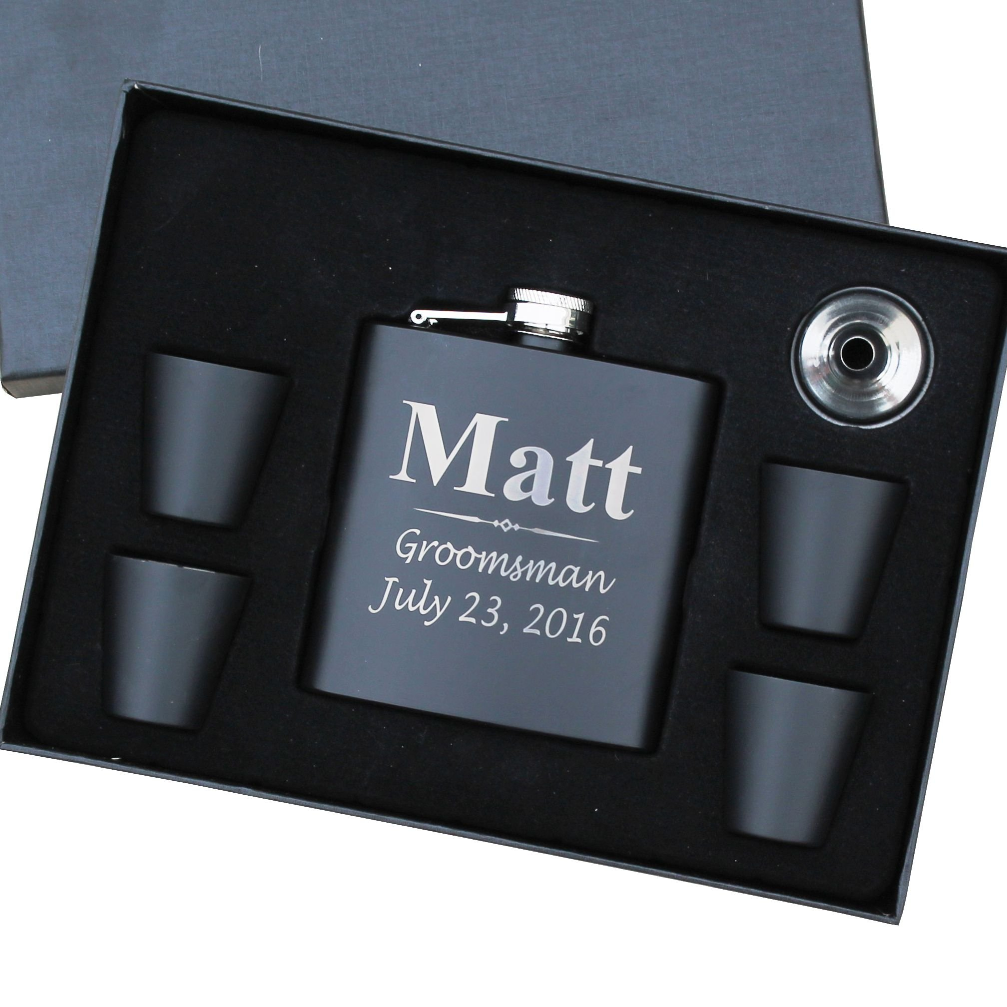 Personalized Black Matte Flask Set - Wedding Groomsmen Gift - Custom Engraved and Monogrammed for Free