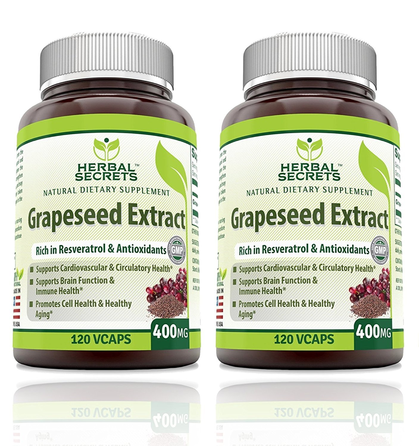 Herbal Secrets Grapeseed Extract 400mg 120 Capsules (Pack of 2) by Herbal Secrets