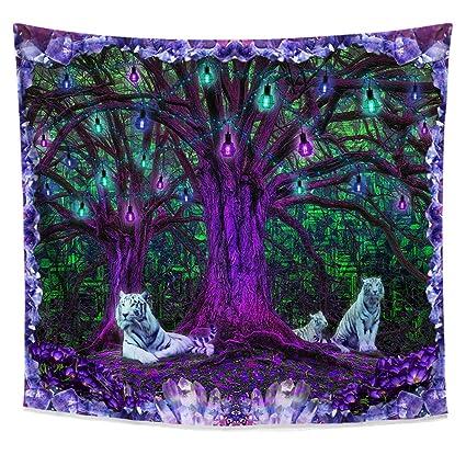 Genial Lucid Eye Studios Tiger Tree Psychedelic Tapestry  Green Matrix Blacklight  Wall Hanging  Amethyst Room