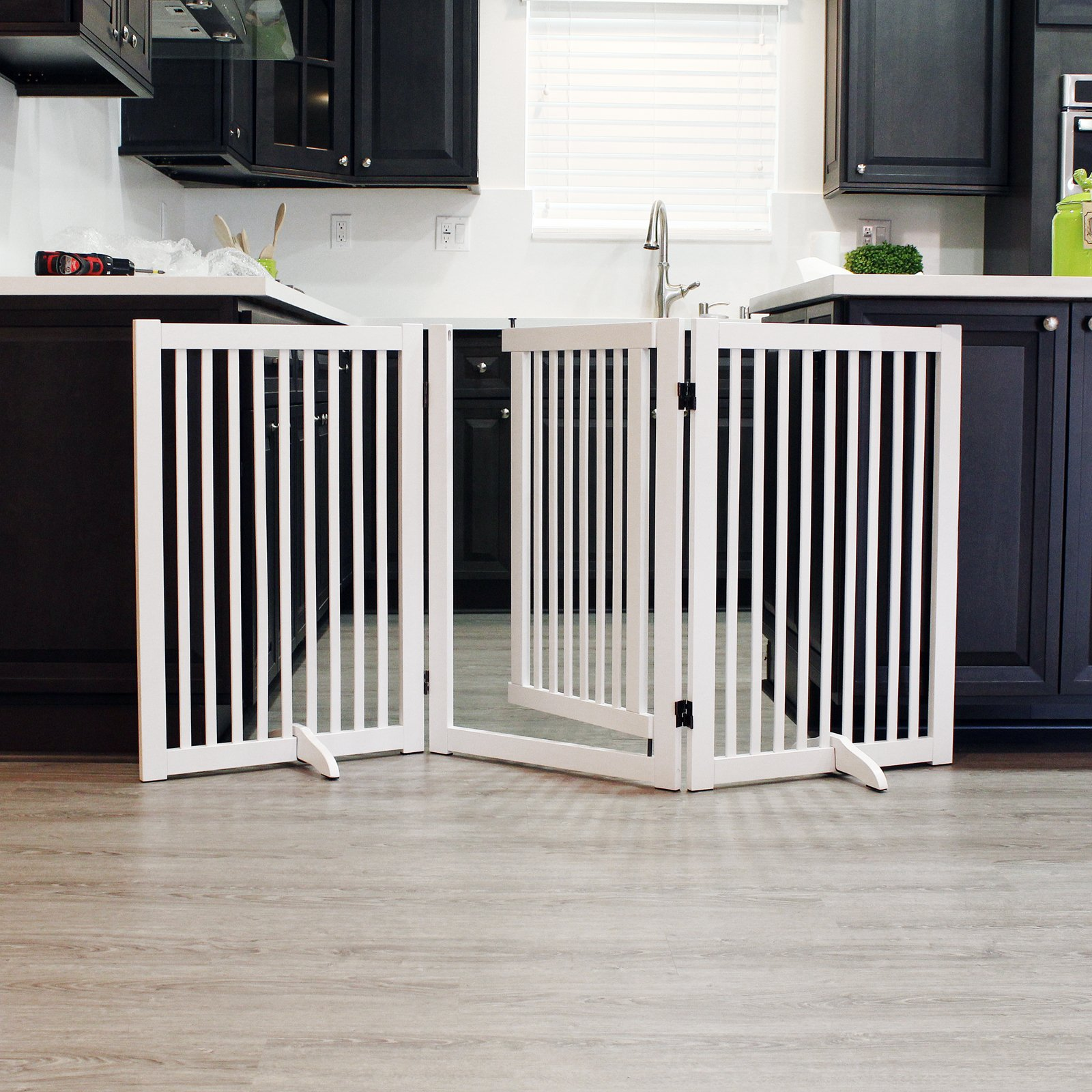 WELLAND Freestanding Wood Pet Gate With Walk Through Door White, 66 Inch  Width,