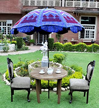 Lal Haveli Patio Garden Umbrella Round Parasol Blue Color 52 x 72 Inches