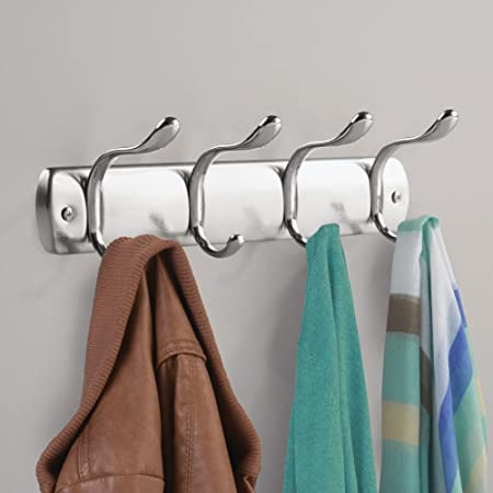 InterDesign Bruschia Colgador de pared, perchero de metal con 4 ganchos para colgar, plateado/plateado mate: Amazon.es: Hogar