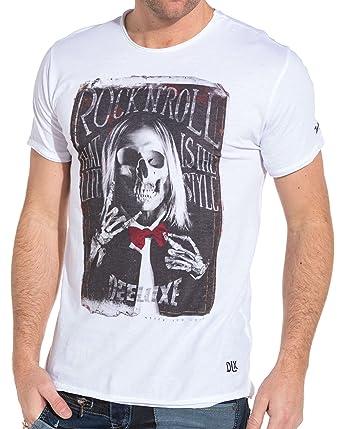 c76696569c75 Deeluxe 74 - T Shirt Homme Blanc imprimé Squelette Fashion - Couleur  Blanc  - Taille