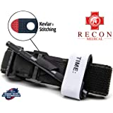 Recon Medical BLK-1PAK-FBA Tourniquet - (Black) Gen 3 Mil-Spec Kevlar Metal Windlass Aluminum First Aid Tactical Swat…