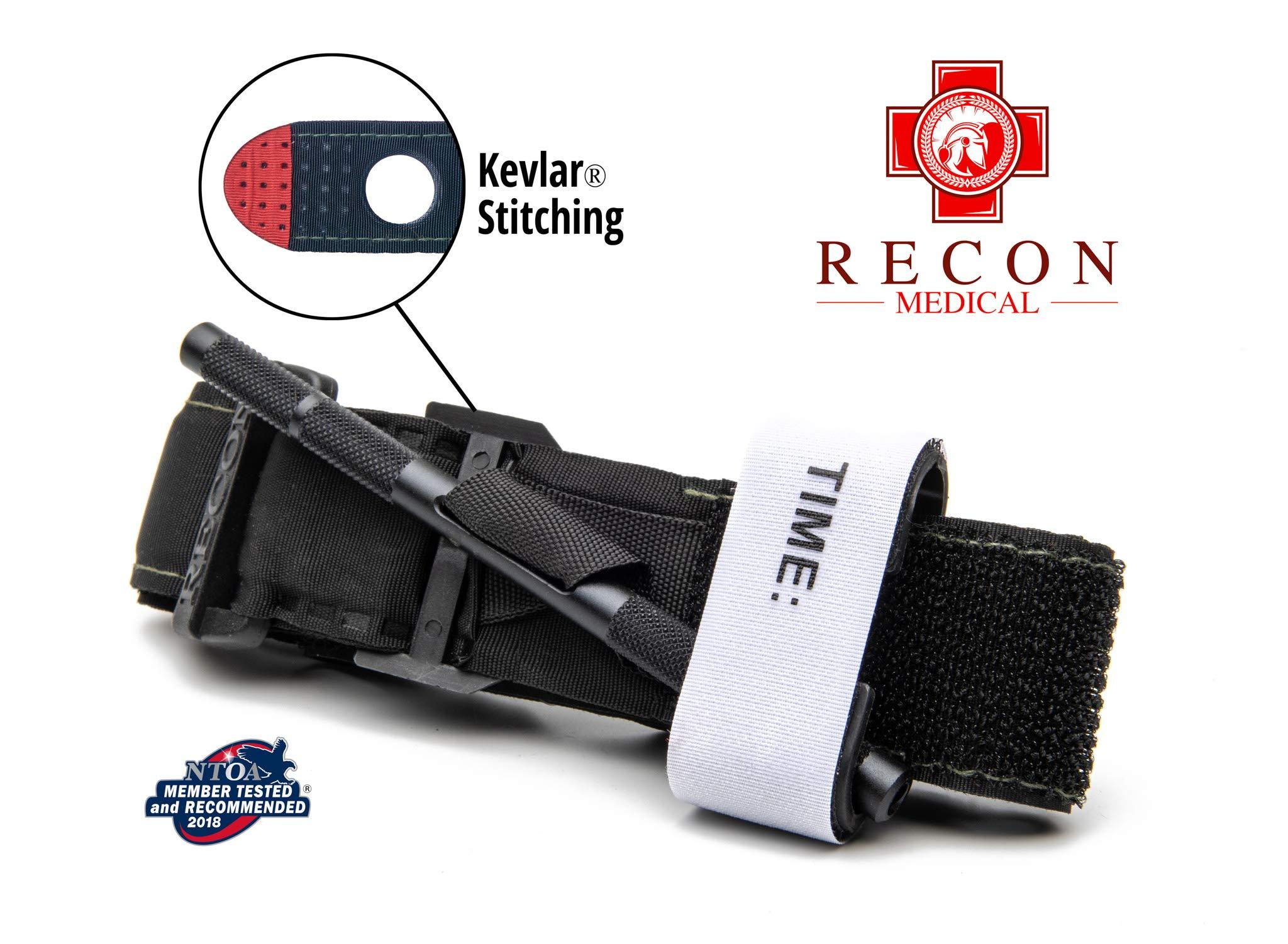 Recon Medical BLK-1PAK-FBA Tourniquet - (Black) Gen 3 Mil-Spec Kevlar Metal Windlass Aluminum First Aid Tactical Swat Medic Pre-Hospital Life Saving Hemorrhage Control Registration Card 1 Pack