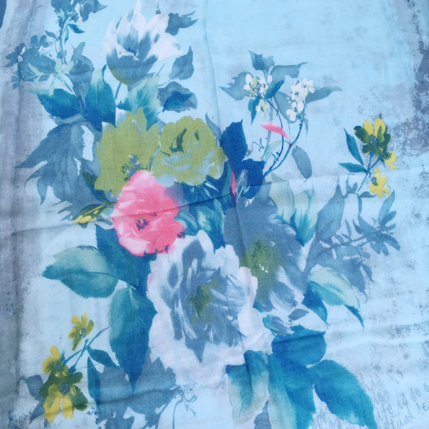 GERINLY Summer Scarfs Rosa Chinensis Print Beach Wrap Womens Travel Shawls (AzureBlue) by GERINLY (Image #4)