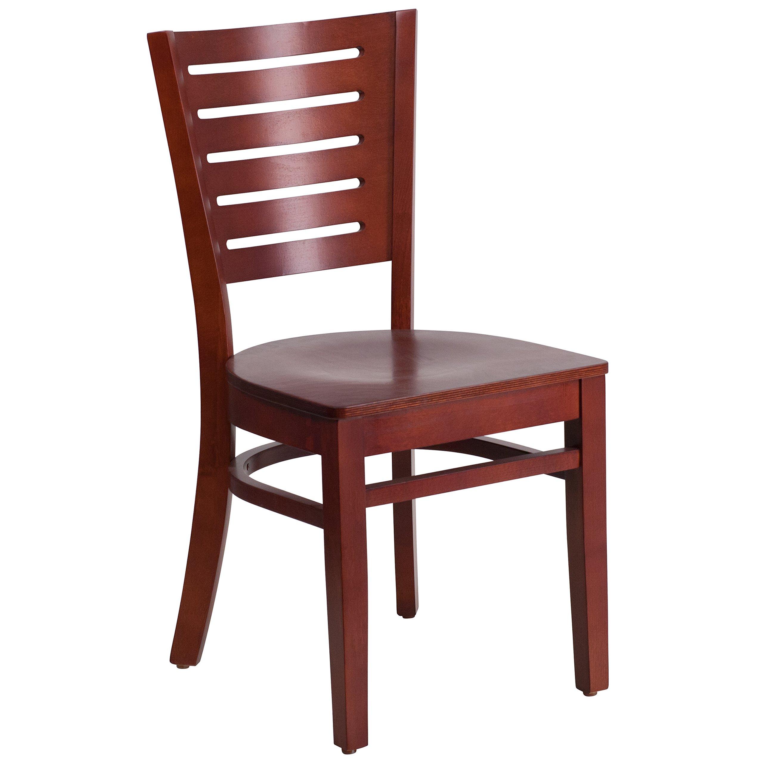 Flash Furniture Darby Series Slat Back Mahogany Wood Restaurant Chair