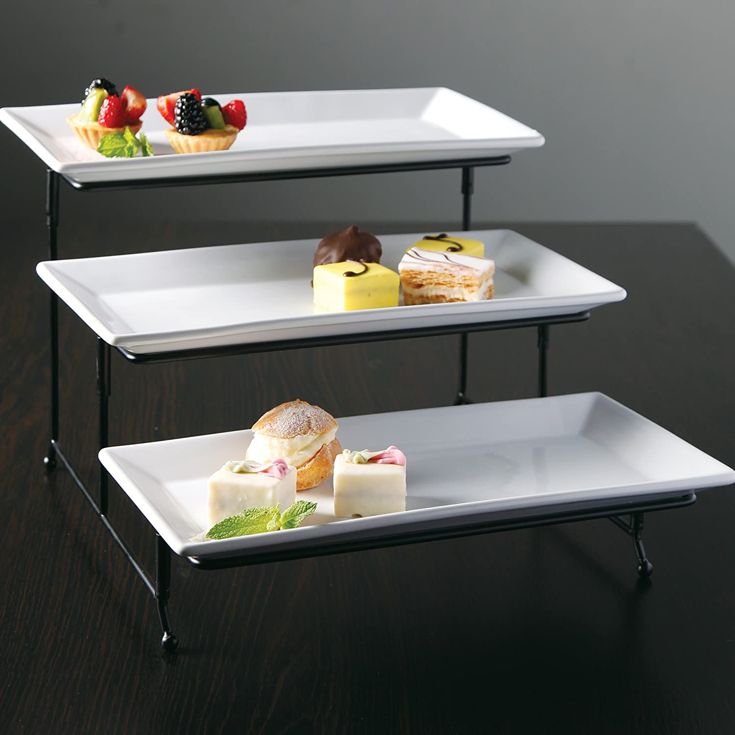 Brand-new Amazon.com: Gibson Gracious Dining Three Tier Rectangle Plate Set  GQ29