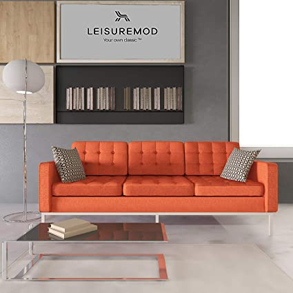 LeisureMod Florence Style Mid Century Modern Tufted Sofa (Orange Twill Wool)