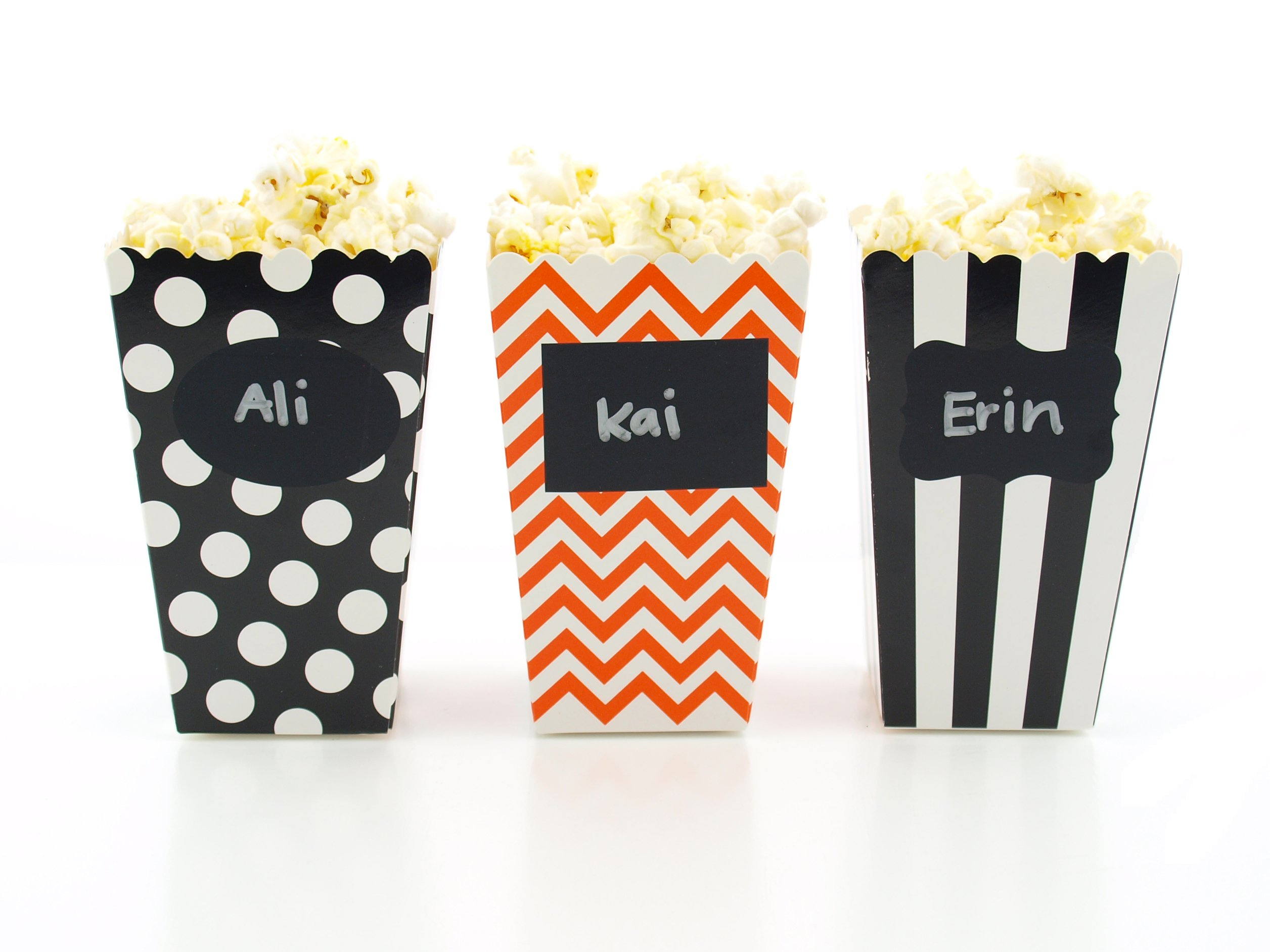 Halloween Party Popcorn Boxes & Black Label Chalkboard Vinyl Stickers (36 Pack) - Black & Pumpkin Orange Halloween Party Favors, Small Movie Theatre Popcorn Tubs for Halloween Party Supplies by Food with Fashion