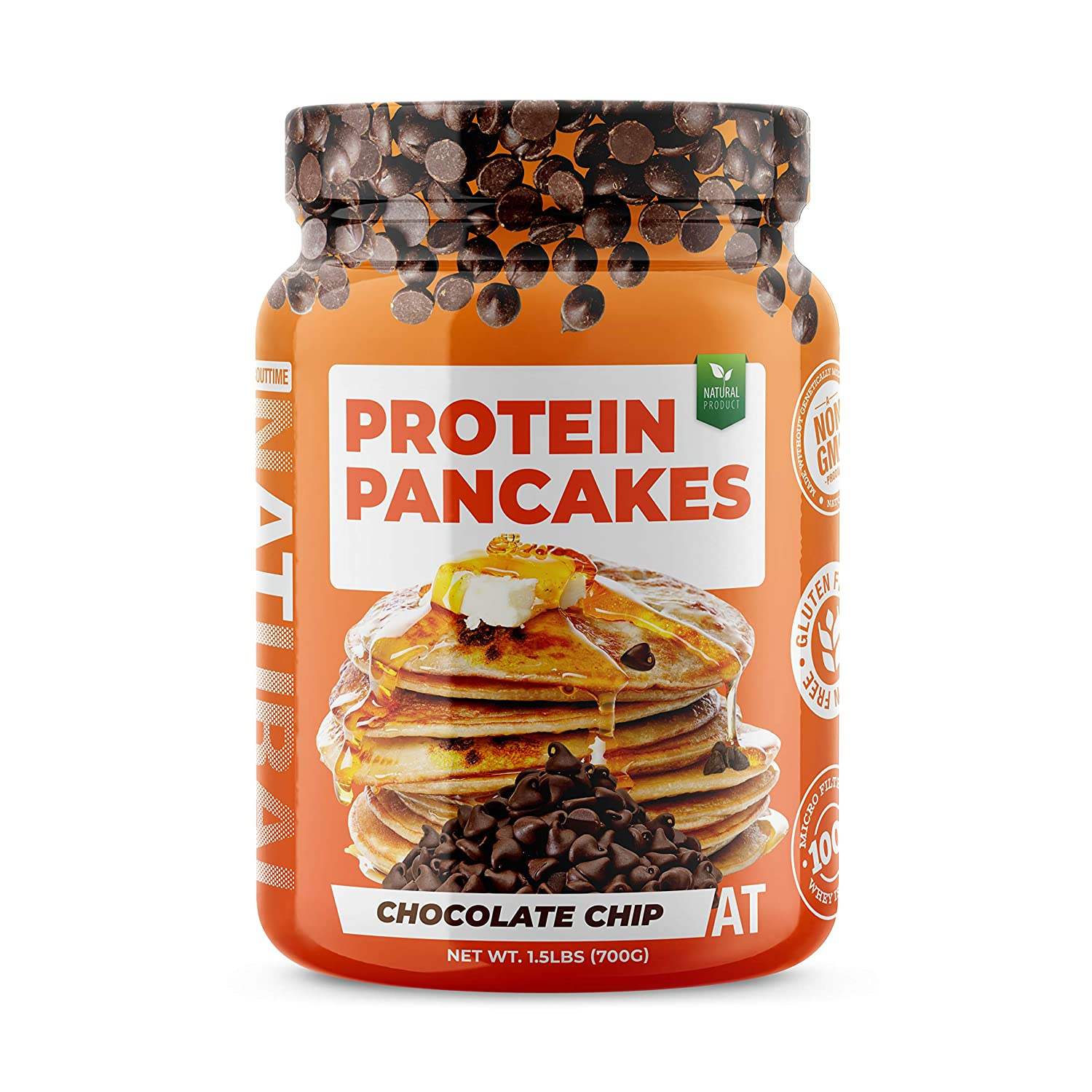 SDC Nutrition About Time Protein Pancake Mix, Chocolate Chip, 1.5 lb (Packaging May Vary)