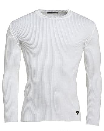 f12da4d329d12 BLZ Jeans - Pull Moulant Homme Blanc - Couleur  Blanc - Taille  XXL ...