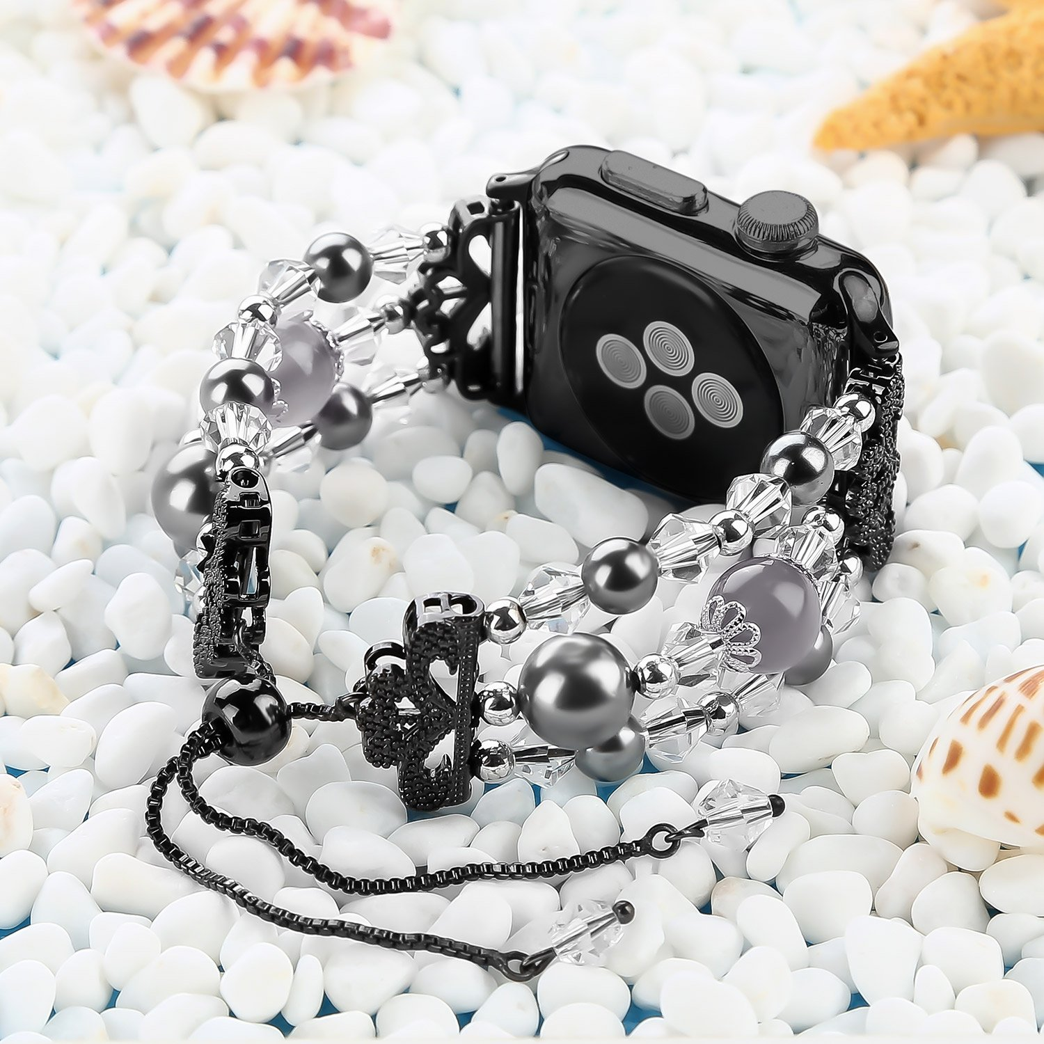 Junwei for Iwatch Bracelet Bands Adjustable, Women Stylish Apple Watchband with Stretch Bling Beads of Crystal Rhinestones Pearls for Apple Watch Series 4 3 2 1 Sport etc. - ( Black, 38mm / 40mm )