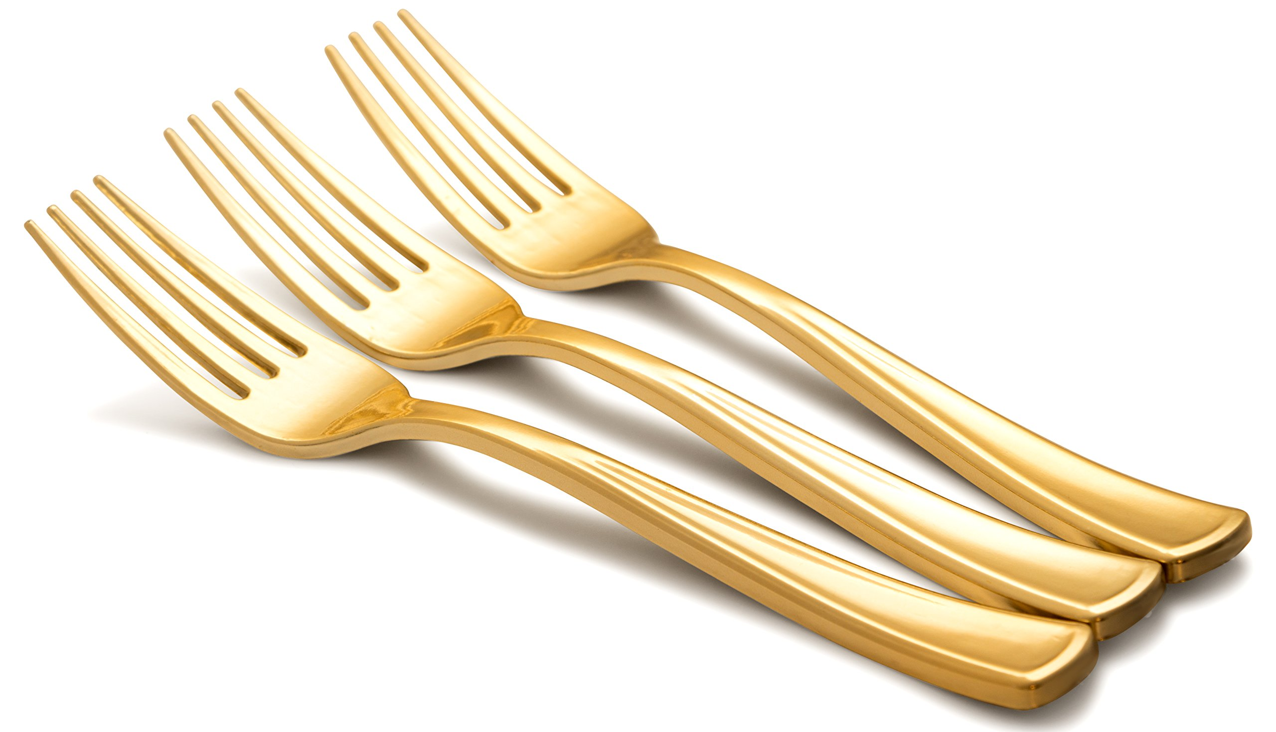 Kaya Collection - Disposable Plastic Gold Silverware Cutlery, Shiny Metallic Flatware - 1 Case (288 Forks)