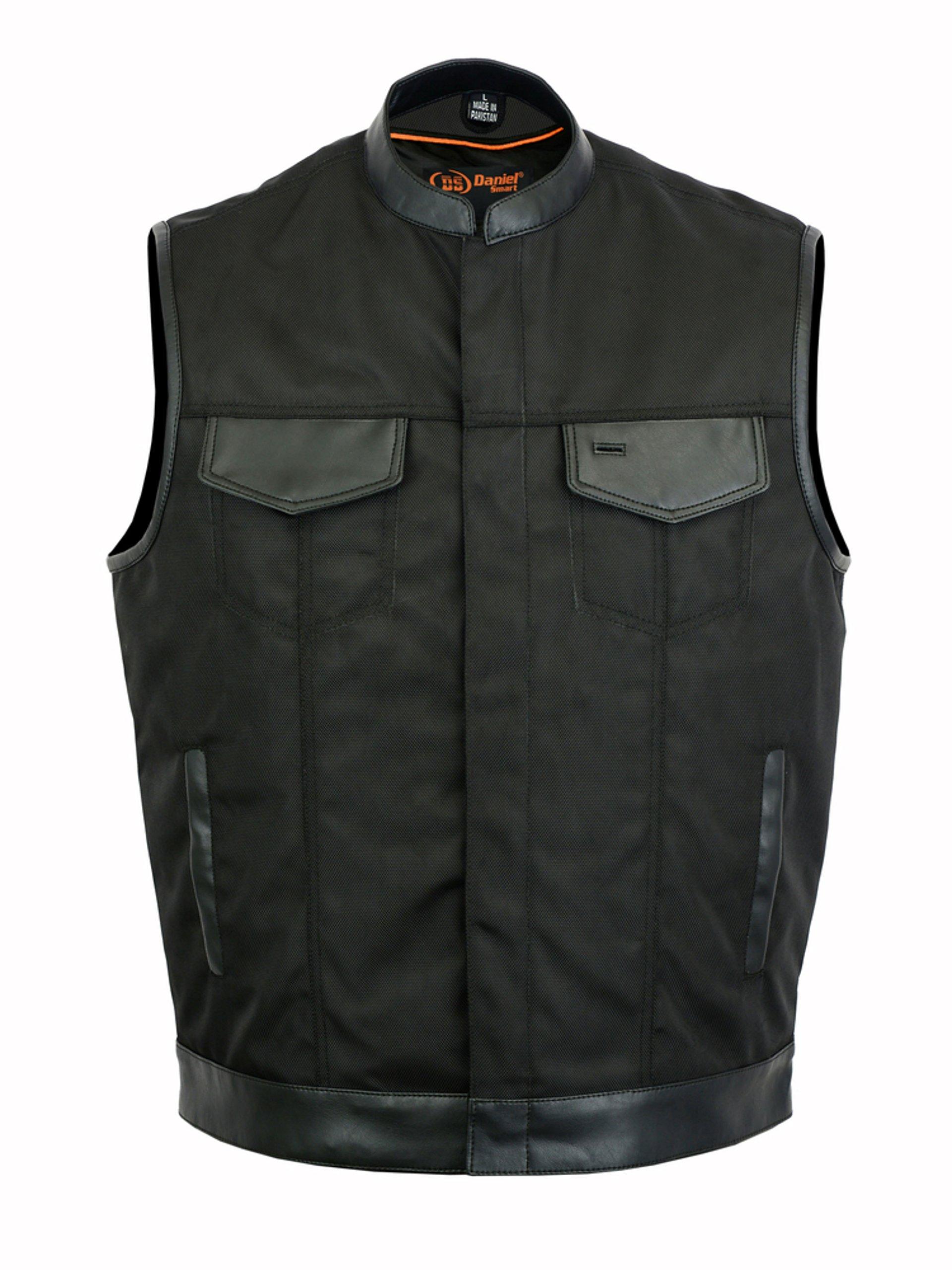 DS689 Concealed Snap Closure, Textile Material, Scoop Collar & Hidden Zipper - Motorcycle Vest