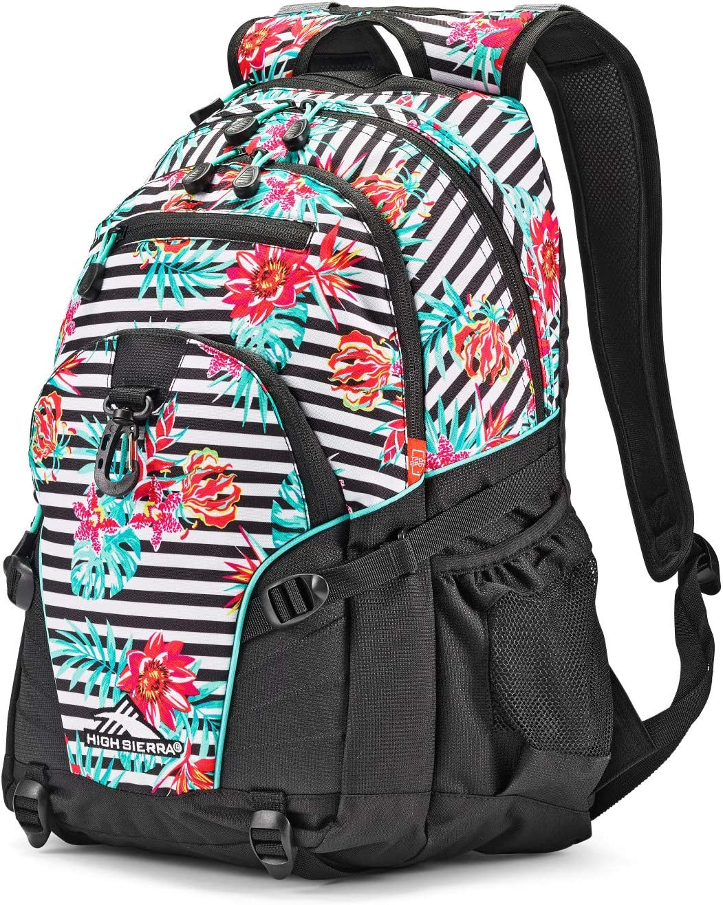 High Sierra Loop Backpack, Tropical Stripe/Black/Aquamarine, One Size