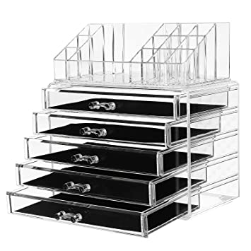 Amazoncom SONGMICS Makeup Organizer 5 Large Drawers 2 Pieces Set