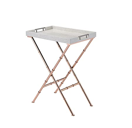 Acme Furniture Acme 98276 Lajos Tray Table, Ivory Crocodile Rose Gold, One Size