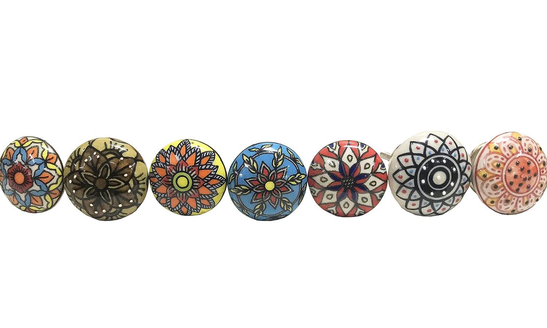 ASK02 Aakriti Gallery Lot de boutons assortis pour porte d/'armoire//de placard//tiroir En c/éramique Look vintage Multicolores