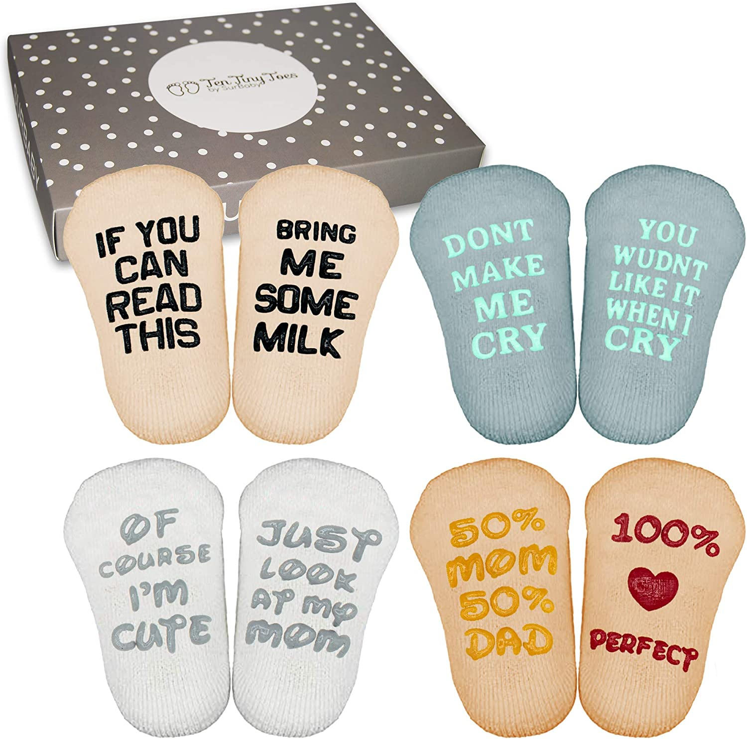 SurBaby Baby Socks with Funny Quotes (4 unique pairs) Novelty Girls/Boys  Infant Socks Baby Shower Gift Set – 90% Cotton, Anti slip, Cutest Gift Box  – ...