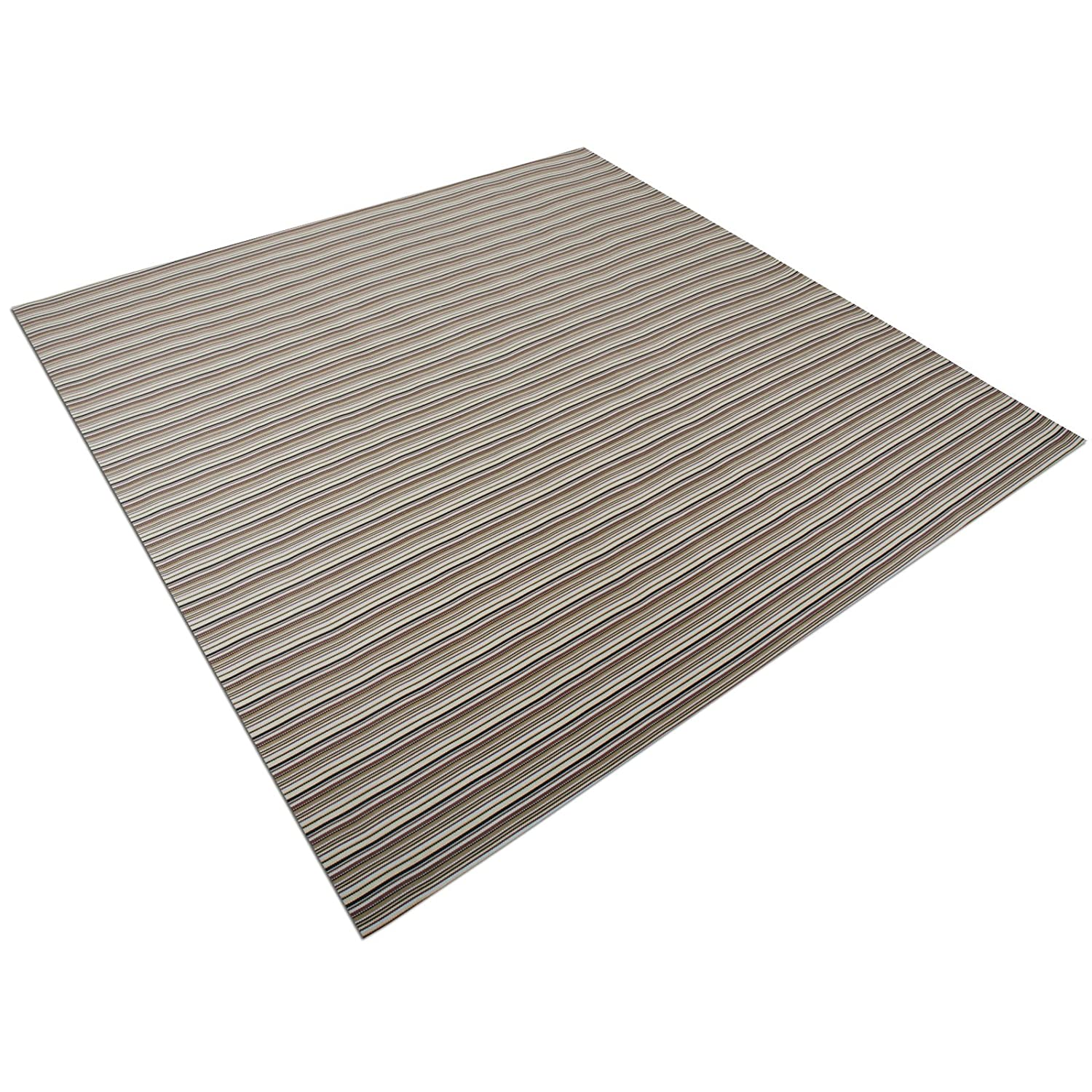 casa pura Asti Brown Striped Protective Floor Mat | Hard Floors or Low Pile Carpets | 90x120cm | 6 Sizes