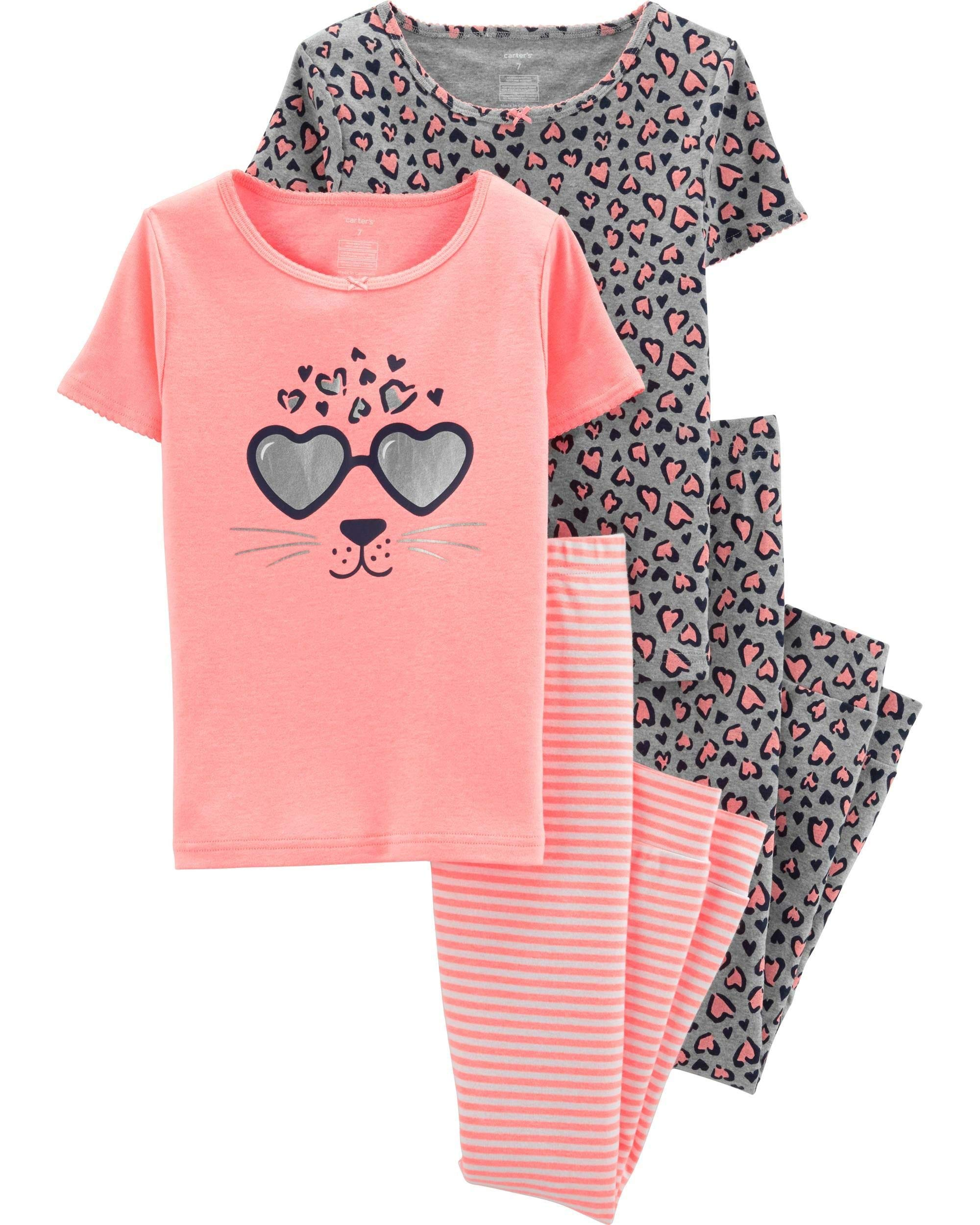 Carter's Girls' Snug Fit Cotton 4 Piece PJ Pajama Sets (Neon Orange/Leopard, 7)