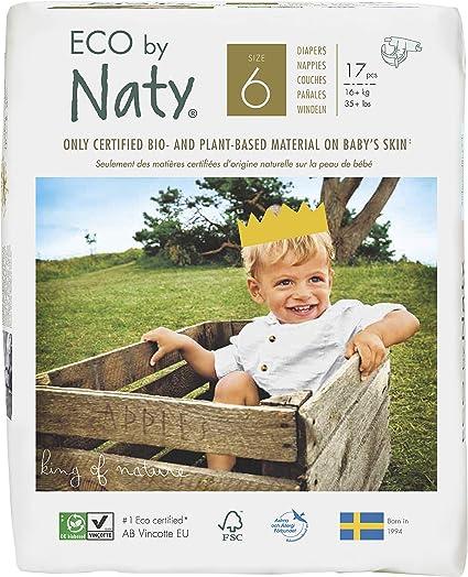 Pañales desechables Eco by Naty Premium para piel sensible, tamaño 6, 16 + kg