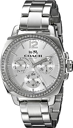 Coach Womens 14502126 Mini Boyfriend Silver Tone Stainless Glitz Watch