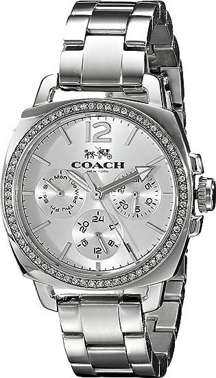 Amazon.com: Coach Womens 14502126 Mini Boyfriend Silver Tone Stainless Glitz Watch: Coach: Watches