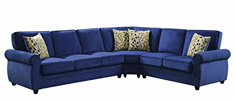 Coaster Home Furnishings Living Room Sectional Sofa, Blue