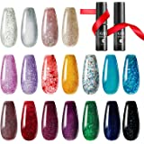 TOMICCA Gel Nail Polish Set Glitter Effect 18 Colors, Base Coat Top Coat UV Acryl Gel Nail Art Set Soak Off UV LED