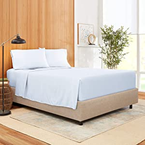 Full Size Sheet Set 4 Piece - Bamboo Blend Hotel Luxury Bed Sheets - Extra Soft Bamboo and Microfiber Blend - Breathable & Cooling Sheets - Wrinkle Free - Comfy – Full – Ice Blue Bed Sheets