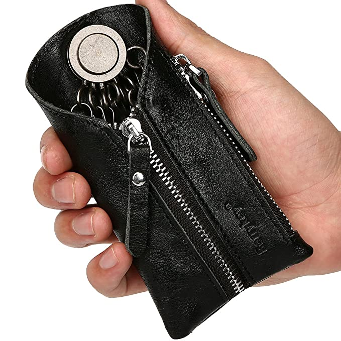 Key Case Holder for Car Leather Smart Chain Coin Holder Wallet with Zipper  for Auto Remote f52fbeefad