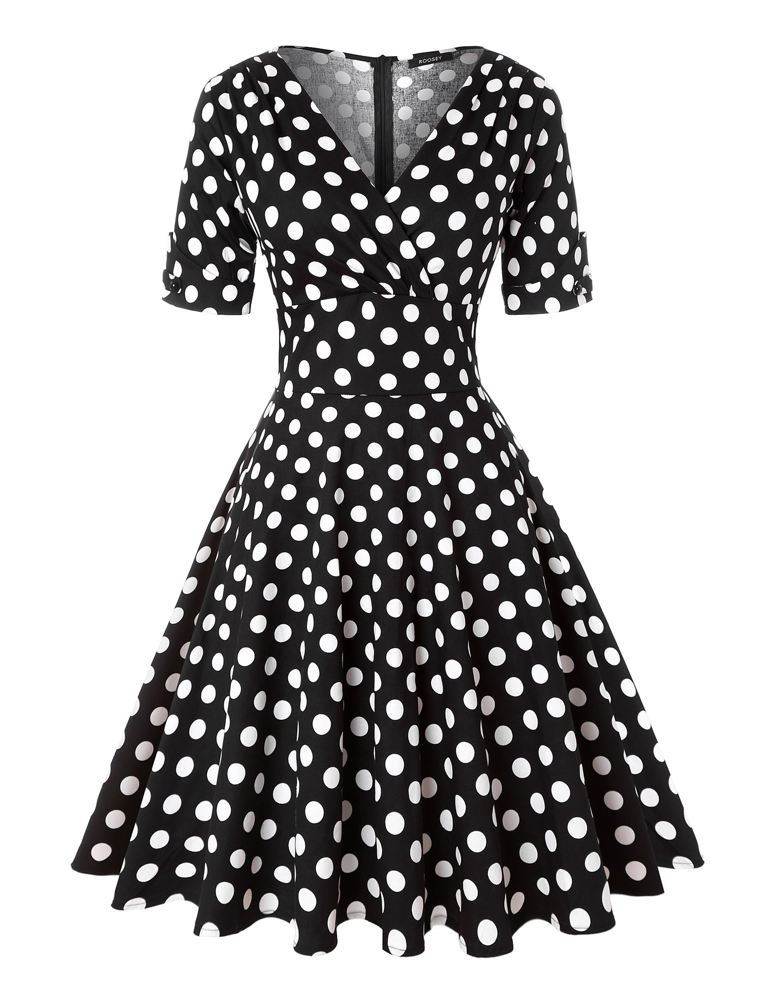 ROOSEY Women Vintage 1950s Retro Rockabilly Prom Dresses V Neck Half Sleeve