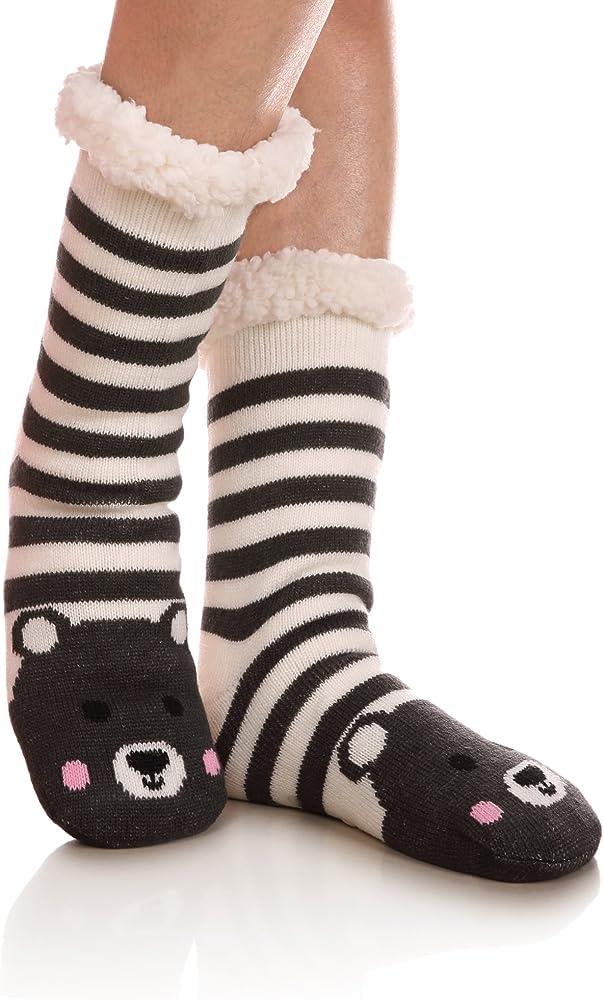 304a4b5fb Womens Sherpa Winter Fleece Lining Knit Animal Socks Non Slip Warm Fuzzy  Cozy Slipper Socks Bear