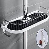 Duschstangen Ablage für Shampoo, Conditioner, Seife, Ohne Zu Bohren,Weiß und schwarz, (ABS-Körper und Edelstahl-Leitplanke)