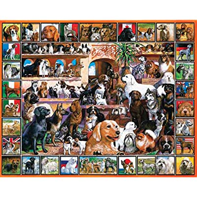 White Mountain Puzzles World of Dogs - 1000 Piece Jigsaw Puzzle: Toys & Games