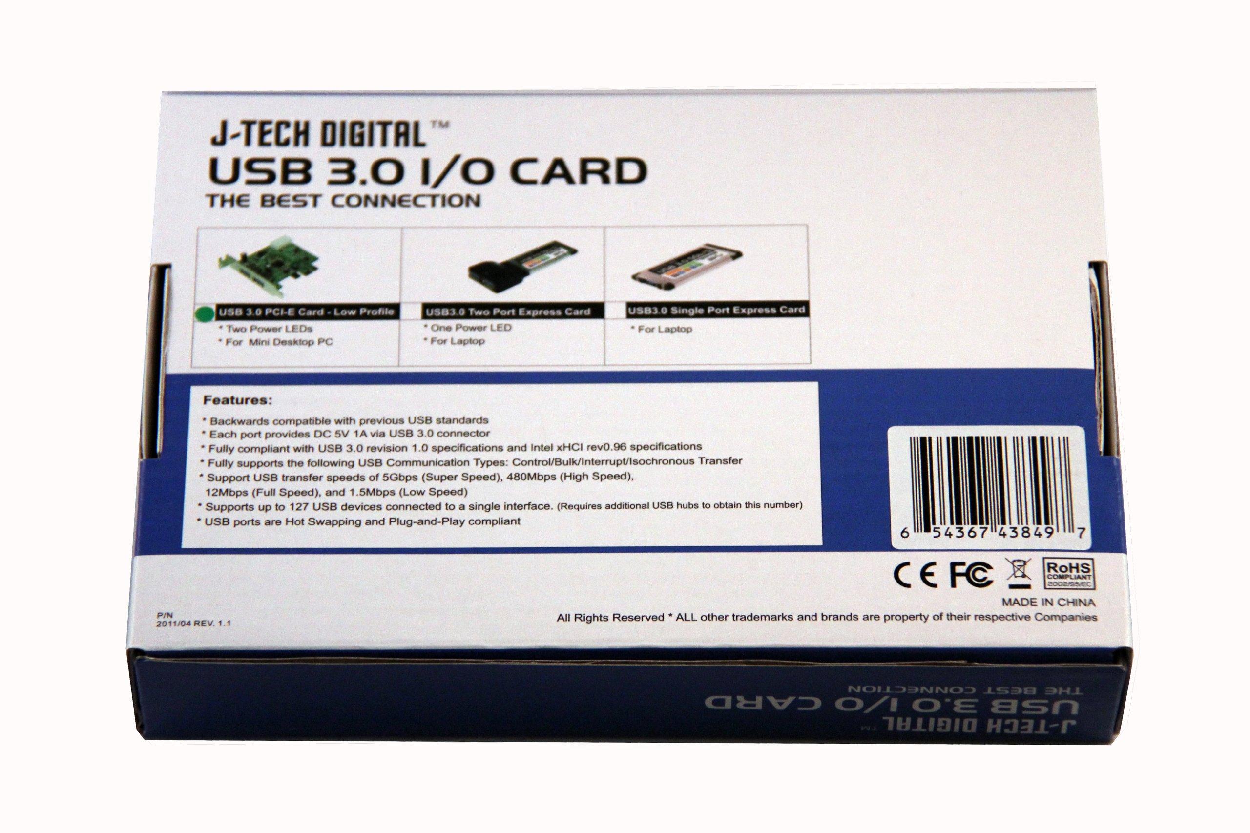 J-Tech Digital JTD-UH302E 2-Port Super Speed USB 3.0 Express Card Adapter for Laptop