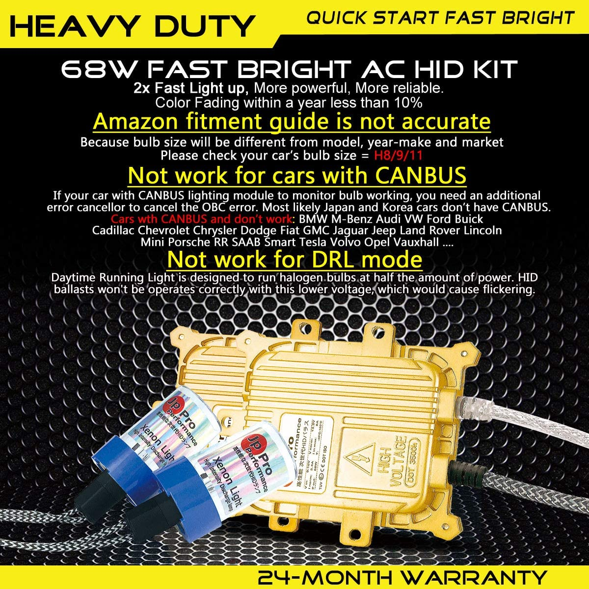 68W 4300K Heavy Duty Fast Bright H1 AC HID Bulbs Bundle with AC Digital Slim Ballasts for 12V NON-CANBUS Vehicles OEM Light Yellow