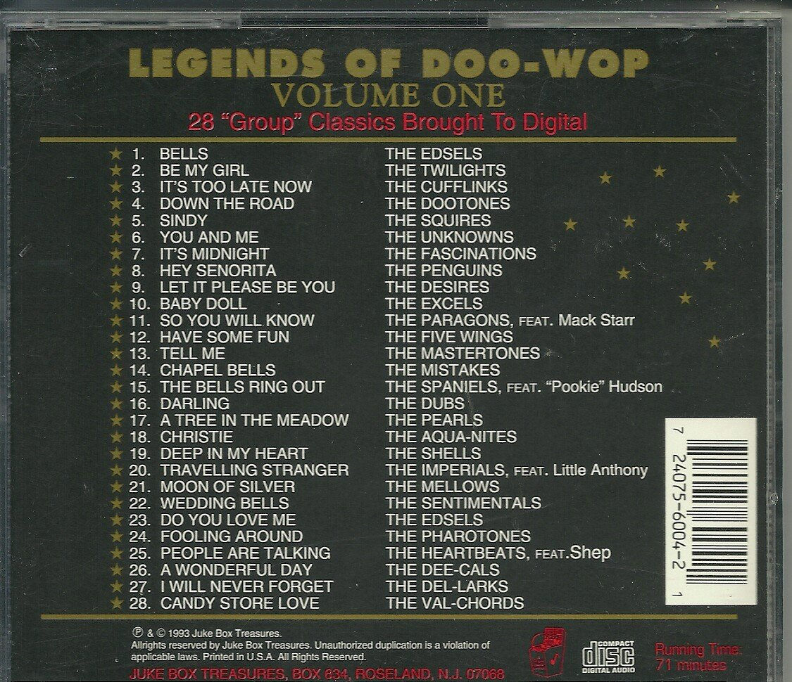 Doo Wop Legends 1 by Juke Box Treasures