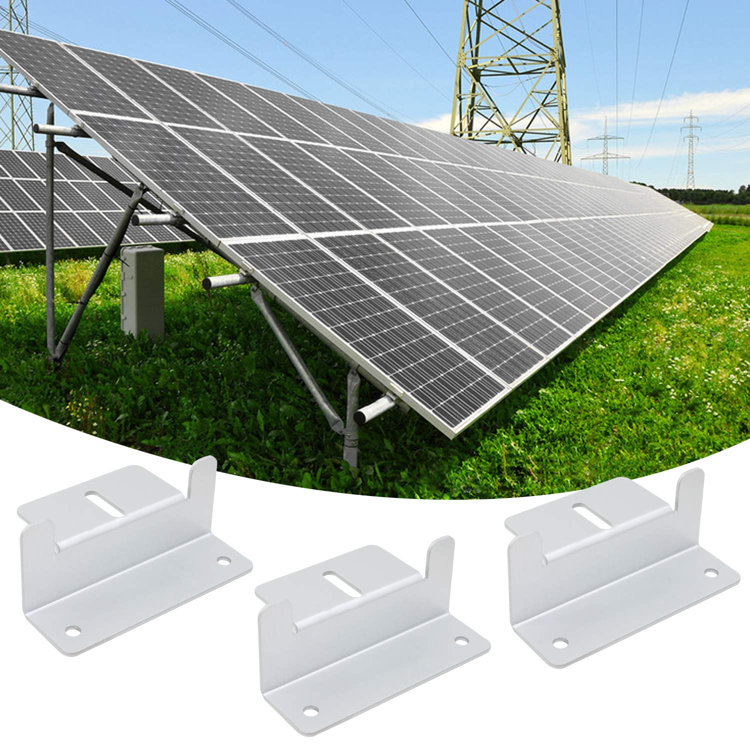 OCR Solar Panel Z-Brackets Solar Panel Mount Supporting Bracket Z Style with Nuts and Bolts,50mm Width 4 Sets