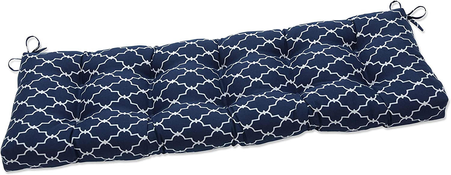 Pillow Perfect Indoor Garden Gate Navy Outdoor Tufted Bench Swing Cushion, 56 X 18 X 5, Blue