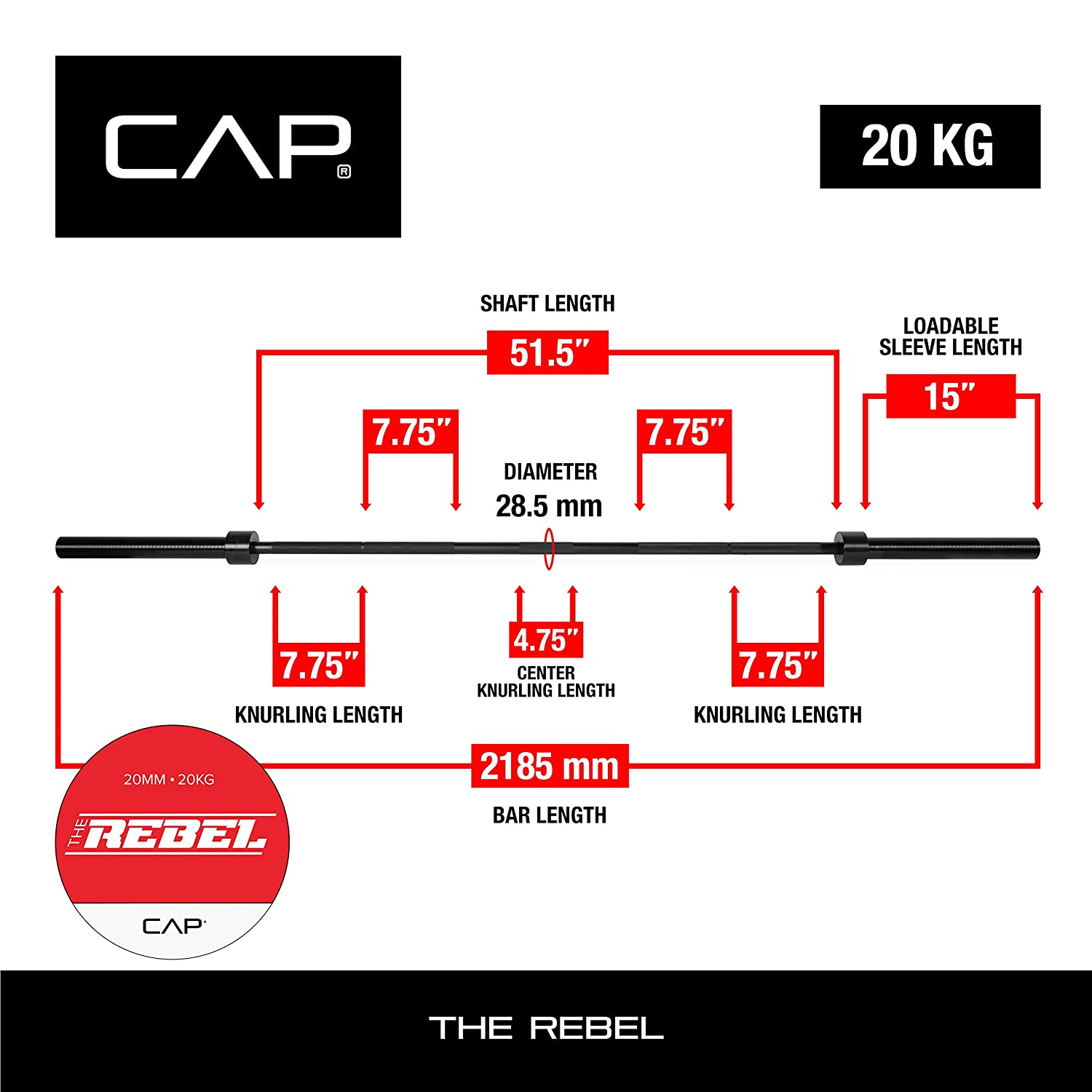 CAP Barbell The Rebel Heavy Duty Power Olympic Bar for Weightlifting