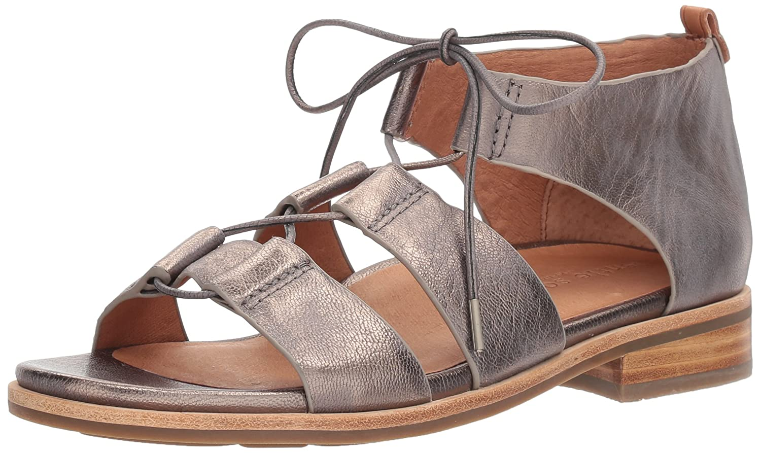 Gentle Souls Women's Fina Lace-up Flat Sandal B078F5H5F1 6.5 B(M) US|Pewter