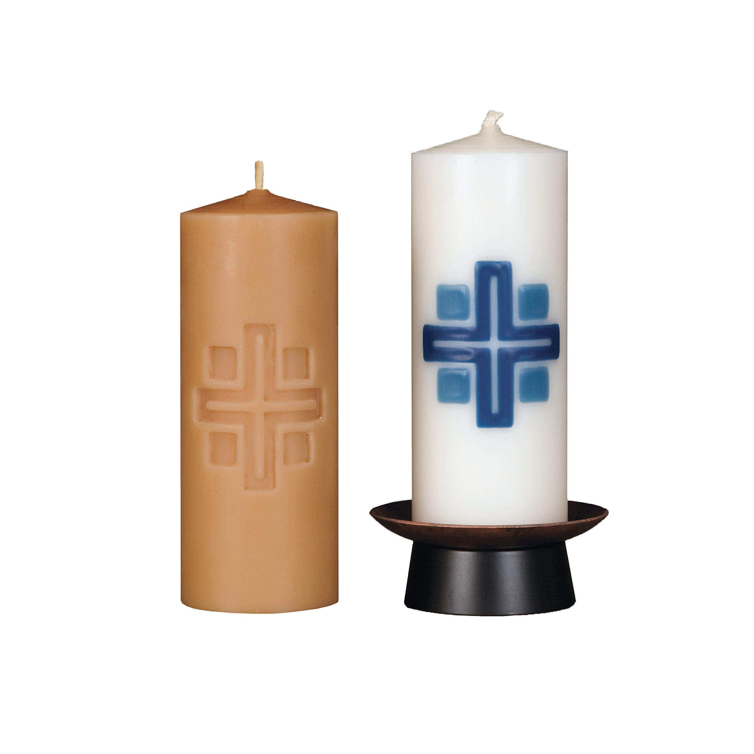 Beeswax Christos™ Candle Set; 2-1/2'' x 6'' candles with base; Chrismata™ design in blue. Handcrafted in New England. Made in America. by Marklin Candle