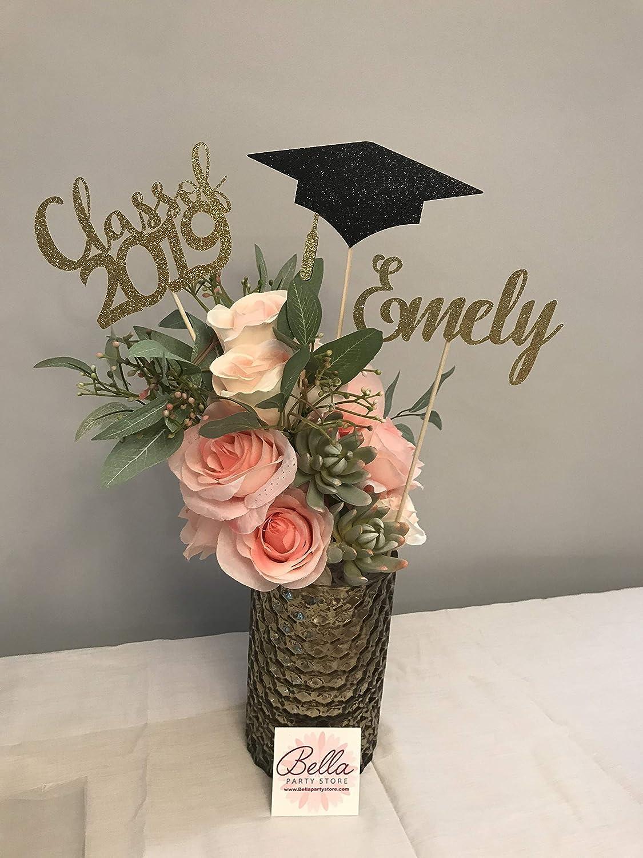 9 Personalized Glitter Graduation Centerpiece Set //// Graduation Cap Diploma //// 2020 //// Graduation Party Decorations //// Grad ////