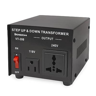Bronson++ VT 300 - Transformador Elevador / Reductor de Voltaje de 300 Vatios EE.UU. - Convertidor de Energía de 110 Voltios - 110V 300W Bronson