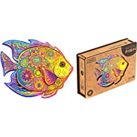 Unidragon Wooden Puzzle Jigsaw, Best Adults and Kids, Unique Shape Jigsaw Pieces Shining Fish, 9.1 x 7.1 inches, 106…