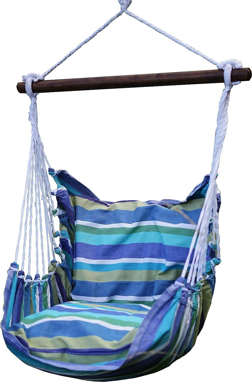 Sedia Amaca Doppia corda Tela di cotone Modello adulto Verde e Bianco Azzuro